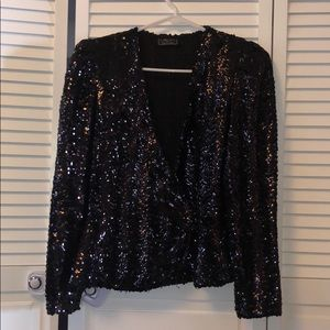 Vintage black sequin top small medium cacriet